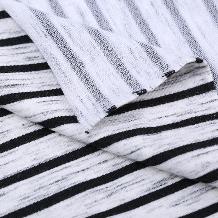 New arrival knitted Heather yarn dyed stripes Stretch French Terry cloth fabric with lycra