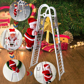 1 Pc Electric Climbing Ladder Christmas Figurine Hanging Ornament Gifts With Music,A Great Decoration for Your Home