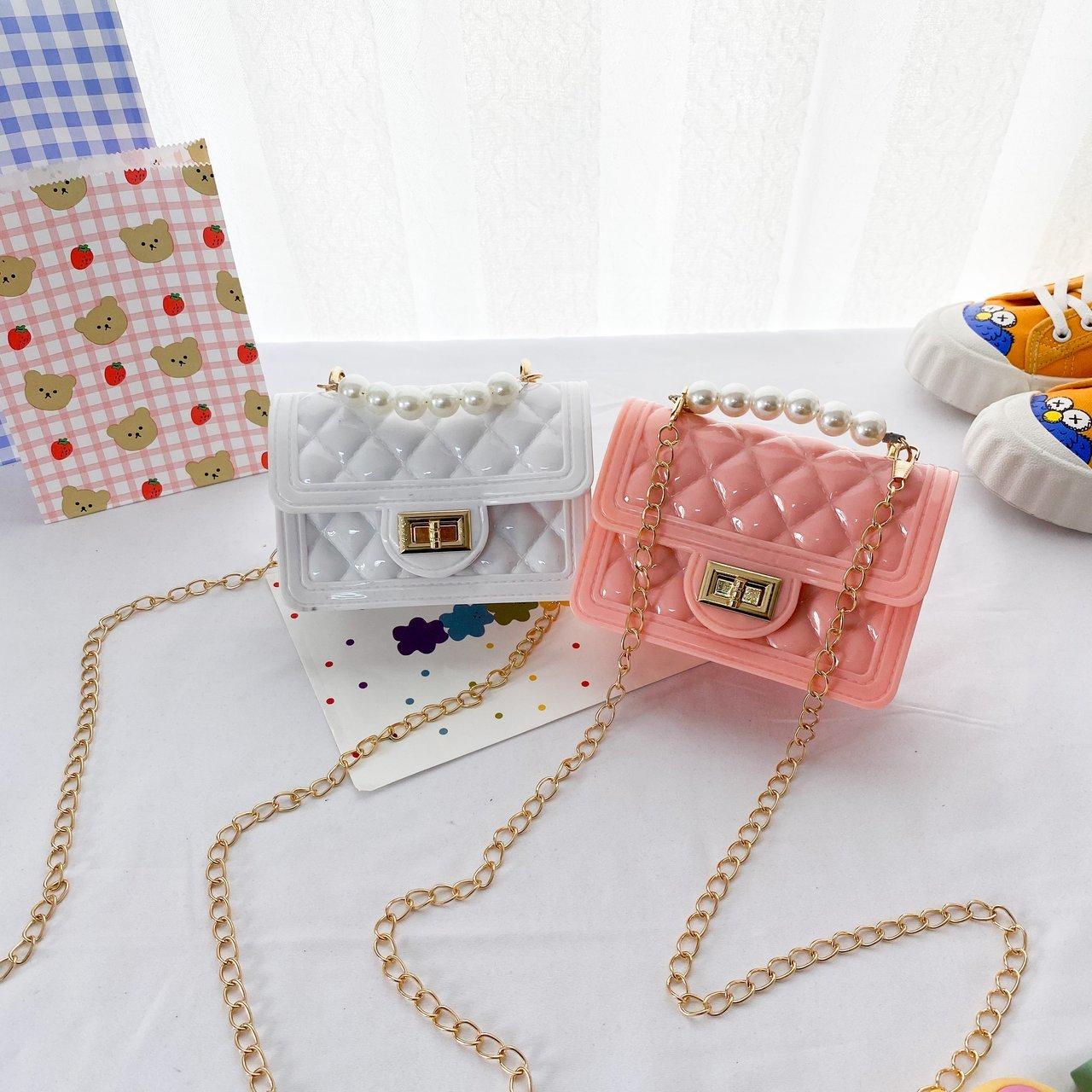 2021 Candy Color Mini Pearl Chain Plaid Women Bags Designer Purse Pvc Girls Over the Shoulder Beach Bag