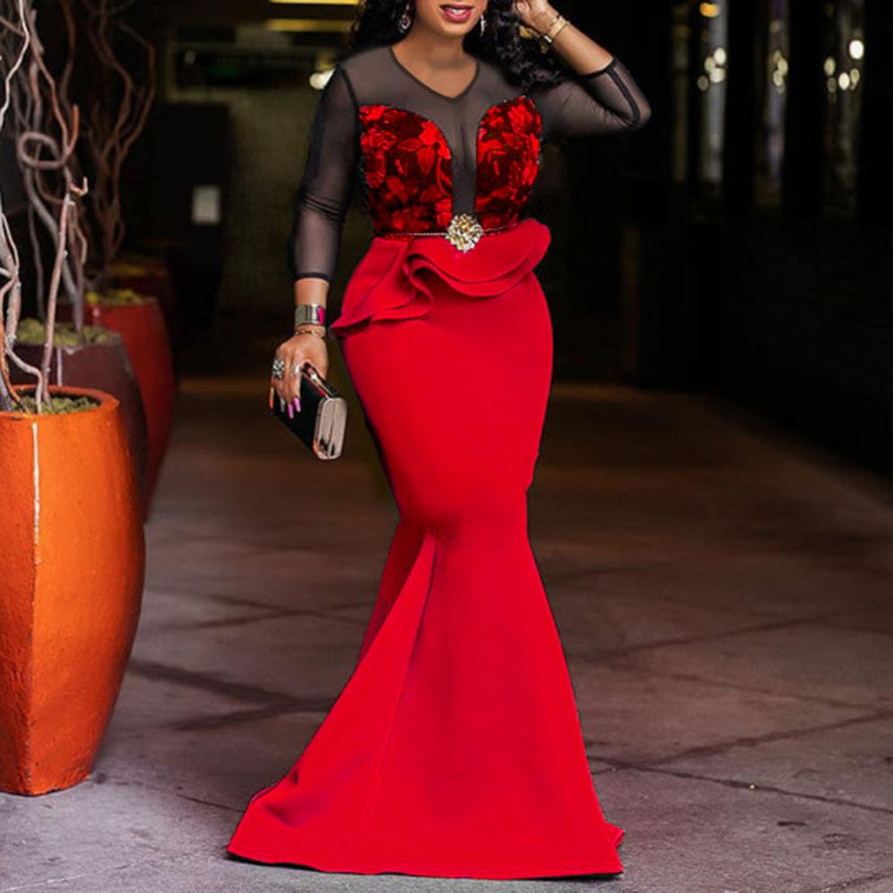Африканские женские длинные вечерние платья Русалка сексуальное прозрачное Сетчатое платье с оборками женское свадебное вечернее платье ...(Китай)