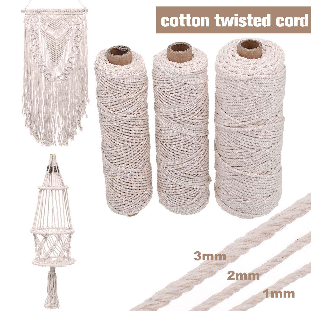 Wholesale wall decorative Diy Handmade Braided rope 100% Natural Cotton white macrame cord twisted cord