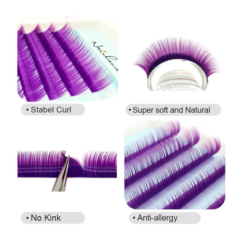 NATUHANA Wholesale Premium Colorful Silk Eyelash Extensions Private Label Beautiful Color Individual Mink Eye Lashes