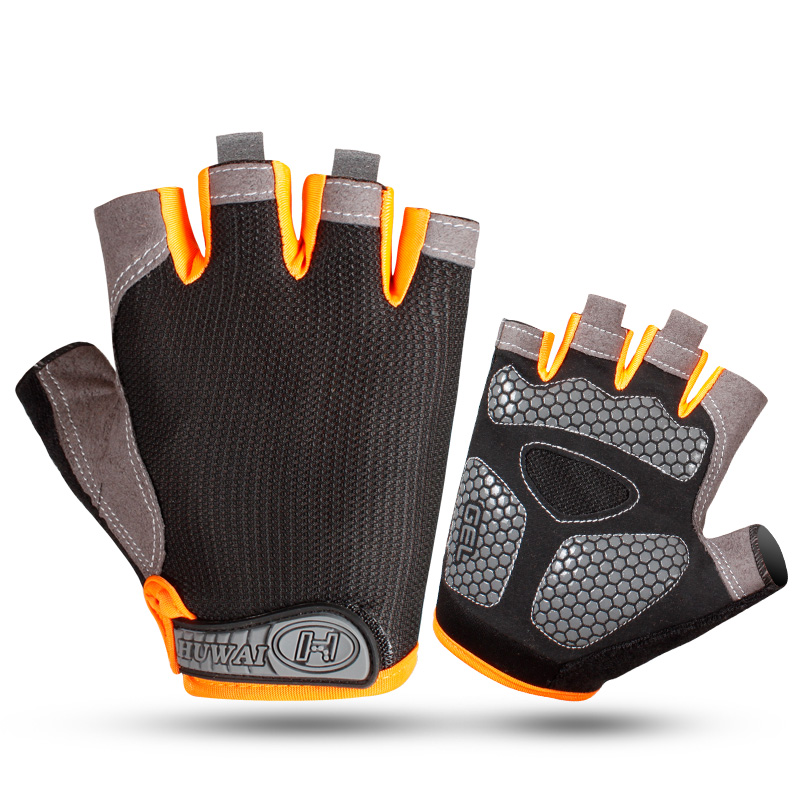 Customized mens shockproof grip pad bike cycling fingerless gym gloves