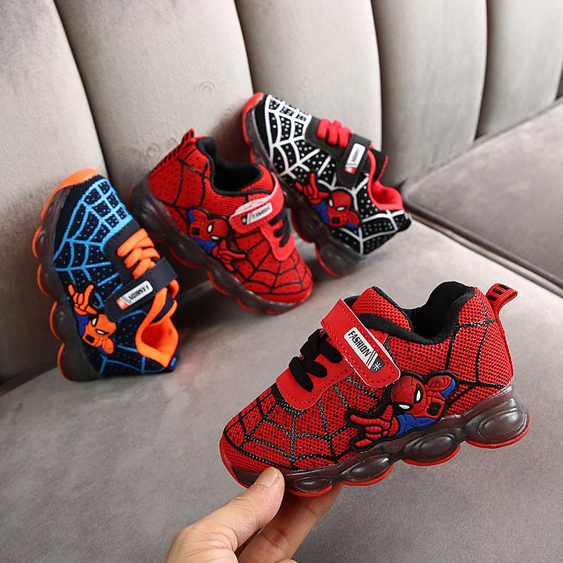 2021 детская светодиодная обувь, перезаряжаемая обувь для мальчиков, кроссовки человек-паук, обувь для детей