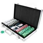 Case Poker Chips Set 2 Playing Cards 5 Dices Aluminum Case Custom ABS 300 Pieces Poker Chips Set