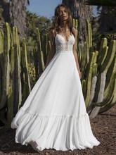 Booma кружевное шифоновое пляжное свадебное платье на бретельках-Бохо С v-образным вырезом, свадебное платье принцессы в богемном стиле длино...(Китай)