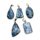 Natural Blue Kyanite Bezel Setting Gemstone Pendant Custom Hand Made Various Shape Stone 925 Sterling Silver Jewelry Charm