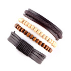 Coconut Shell Bead Genuine Leather Bracelet Hand Made Coconut Shell Wooden Bead Bracelet