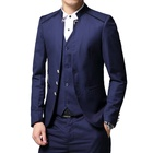 New Design Classic Single Row Multi-button Blazer Vests Stand-collar 3 Pieces Business Wedding Men'S Suit