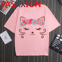 Женская футболка в Корейском стиле, с принтом кота, в стиле хип-хоп, Харадзюку(China)