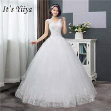 It's YiiYa новое простое свадебное платье с v-образным вырезом белое расшитое блестками дешевое свадебное платье De Novia HS288(China)