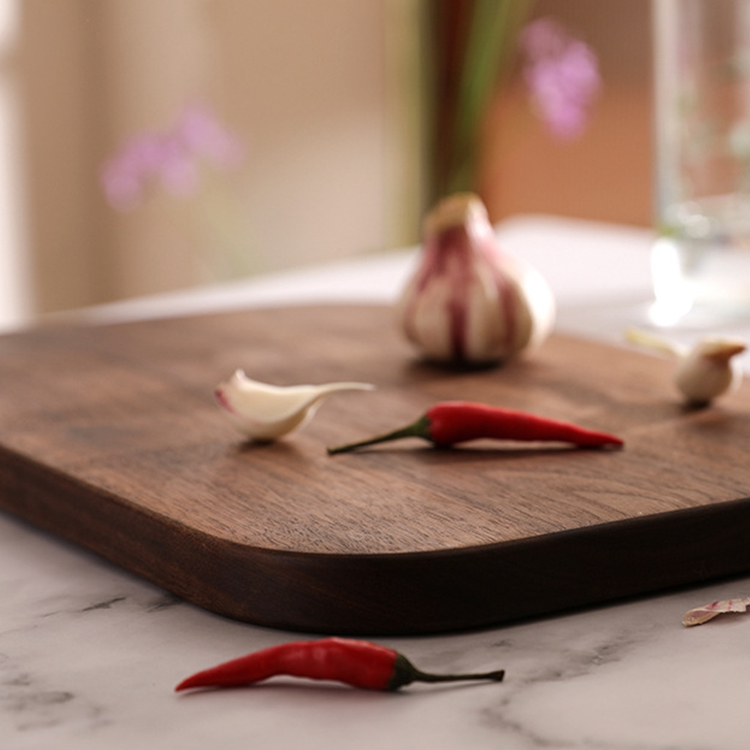 Wholesale black walnut modern eco friendly solid wood kitchen serving chopping board