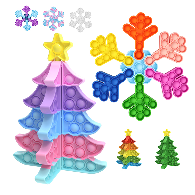 Newest Creative Stitching Colorful Christmas Trees And Snowflakes Bubble Fidget Toy Christmas Fidget Popper For Christmas Fidget