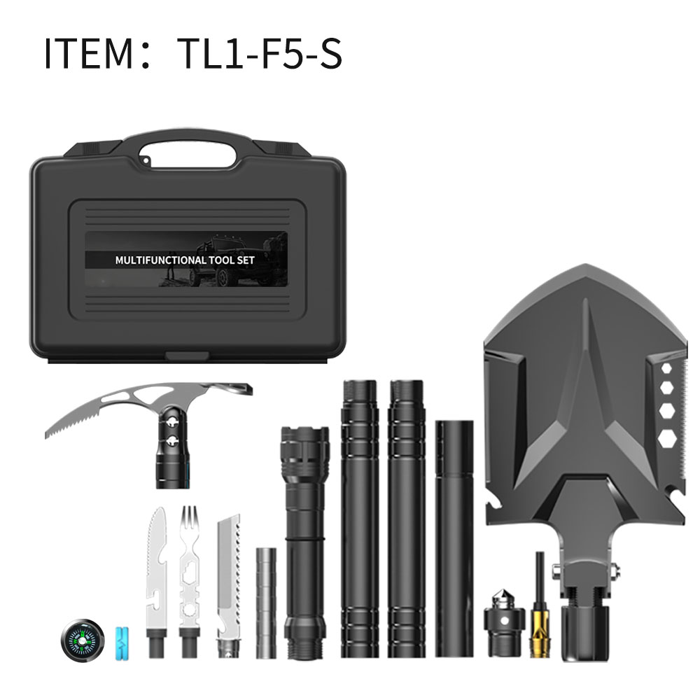 4 in1Self-defense Stick/Flashlight Multifunction Shovel Axe Outdoor Set