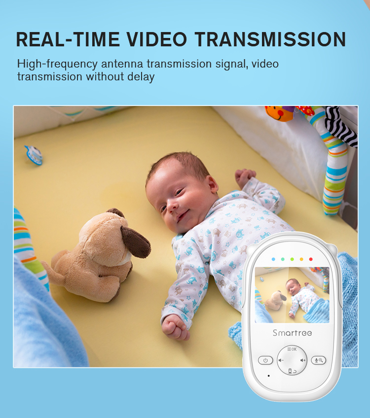Mini Smart 2.4 Inch LCD Display Baby Monitor Pan and Tilt Four Cameras Cry Voice Detection Babies Monitor for Babe Surveillance