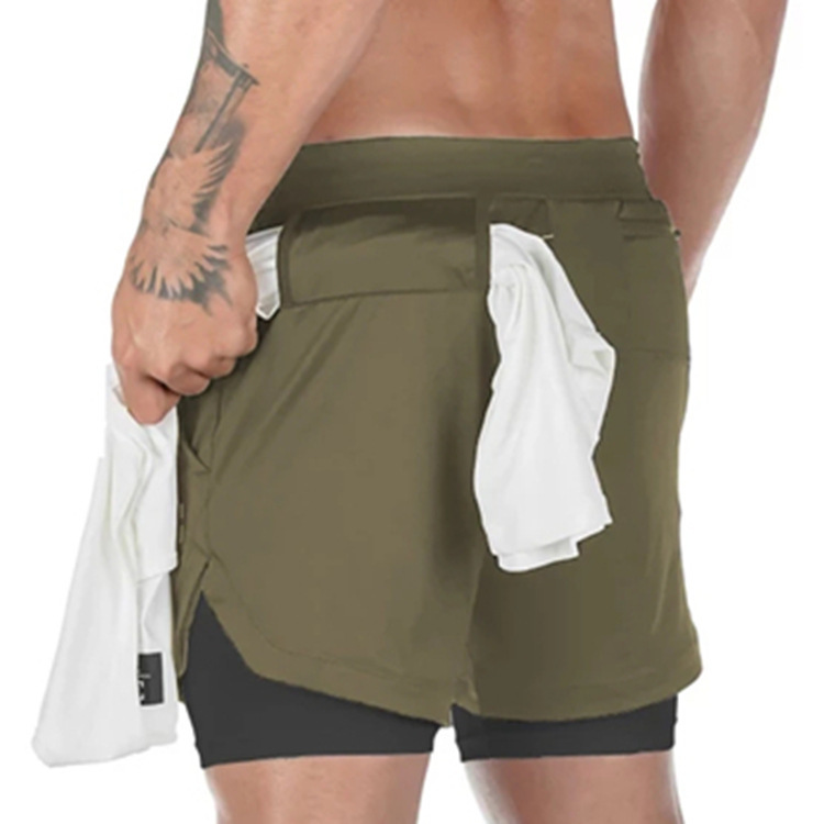 Men Elastic Waist Fitness Exercise Bike Running Yoga Gym Sport Shorts with Multifunction Pockets