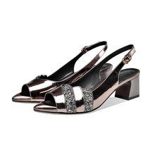 MLJUESE 2020 женские сандалии из коровьей кожи с открытым носком серебристого цвета с пряжкой на ремешке на высоком каблуке; Пляжные сандалии; Ве...(Китай)