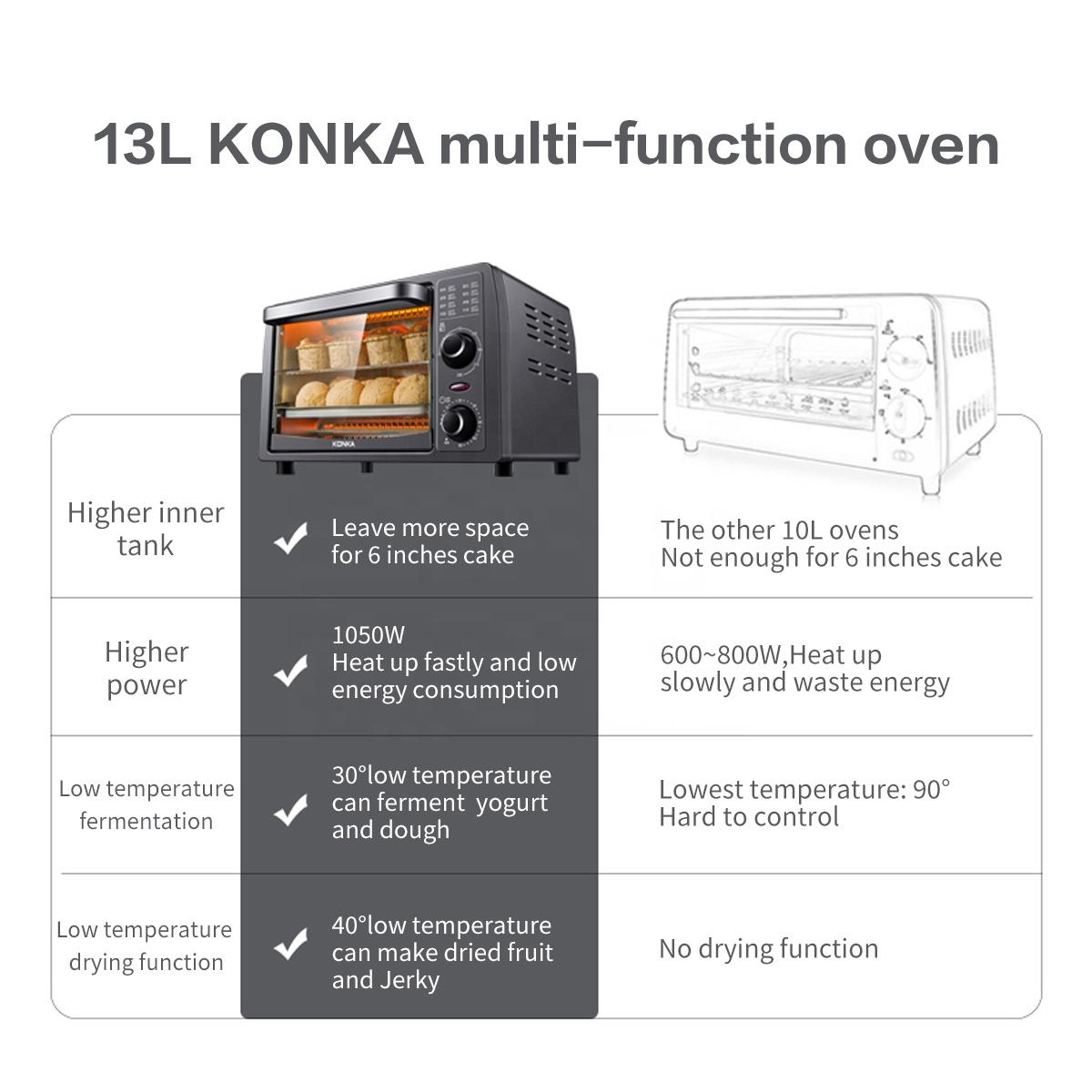 Электрическая мини-духовка KONKA, многофункциональная печь из нержавеющей стали на 4 ломтика с таймером, 1050 Вт, включает в себя сковороду и стойку для выпечки