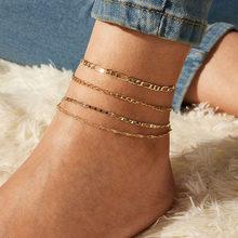 17KM модные Многослойные хрустальные жемчужные браслеты на ногу, набор для женщин, цветной камень, ракушка, цепочка, ножной браслет, ювелирные...(Китай)