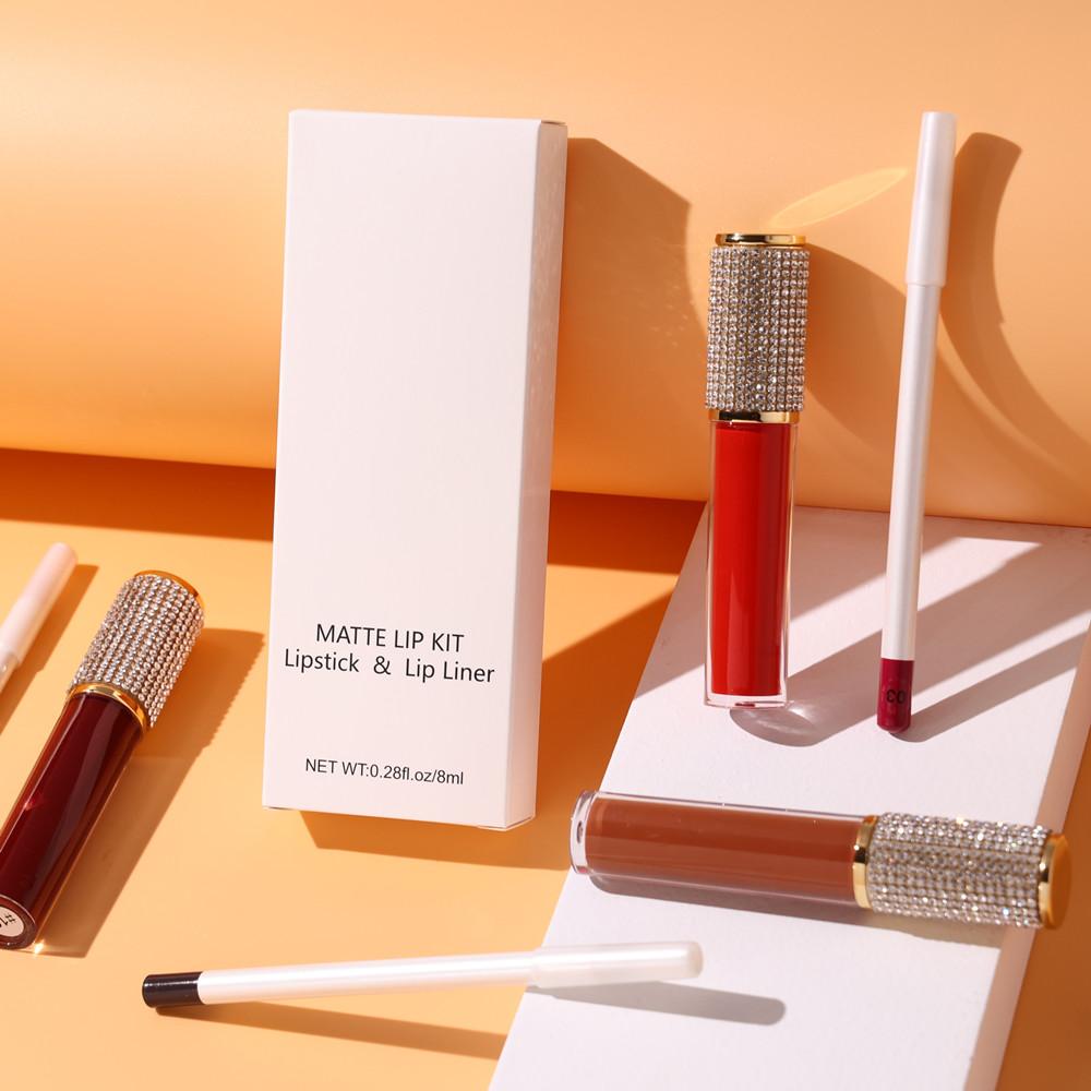 New arrival rouge a levre mat long lasting matte liquid lipstick kit customizible matte lip liner lipgloss set