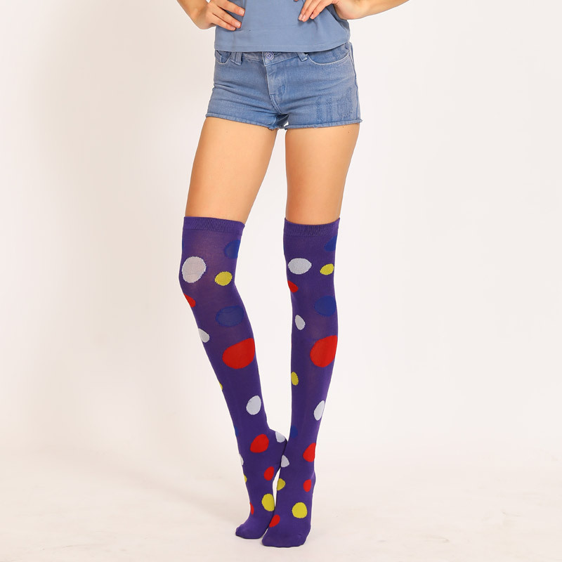 Custom Women Winter Knee High Warm Socks Dot Christmas Combed Cotton Colorful Wholesale Stockings for Girl Dots