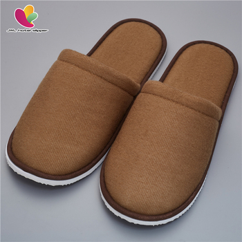 Brown Terry Towel Close Toe With Sponge Disposable Slippers For Hotels
