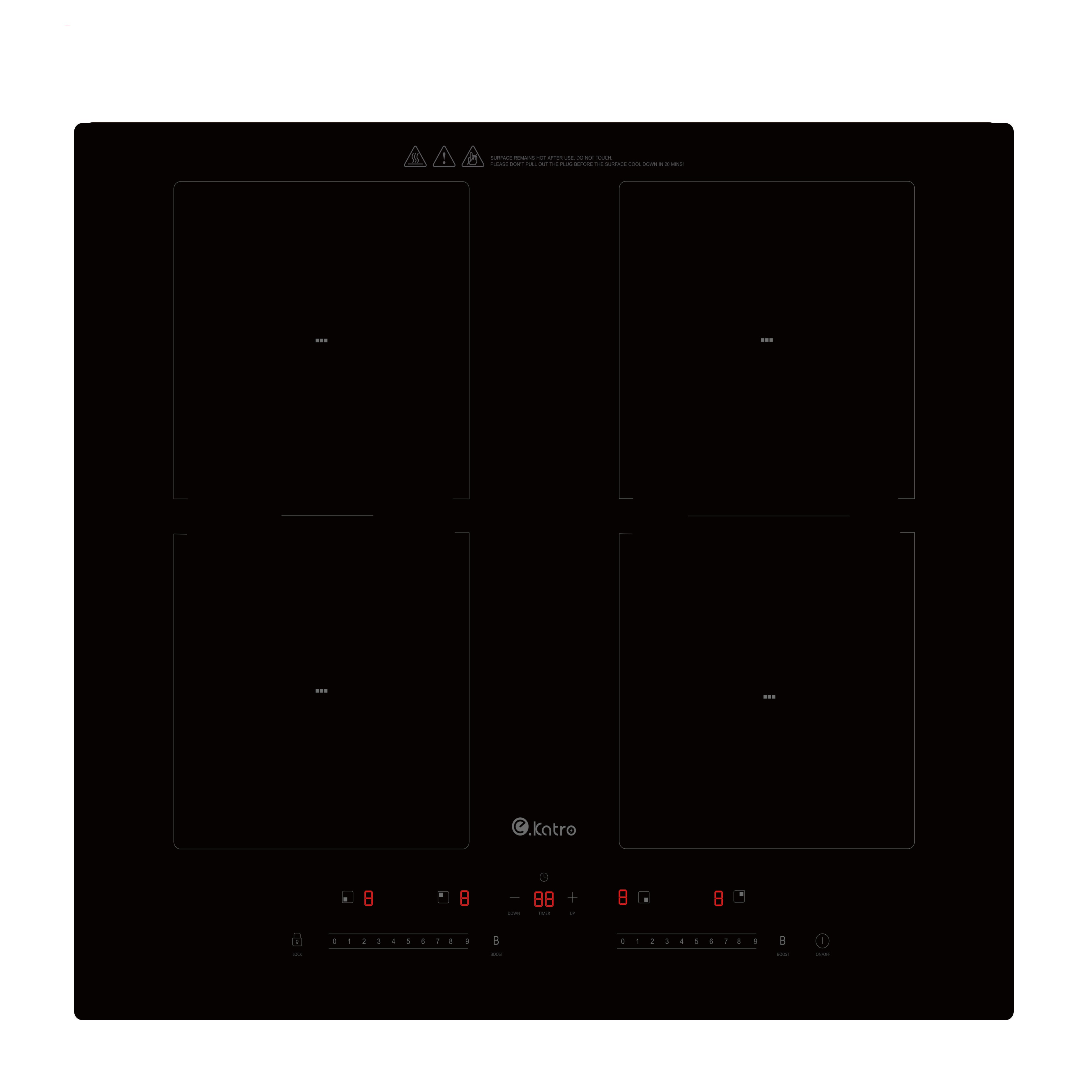 BLack Large area Schott glass Four Burners Build-in Induction hob