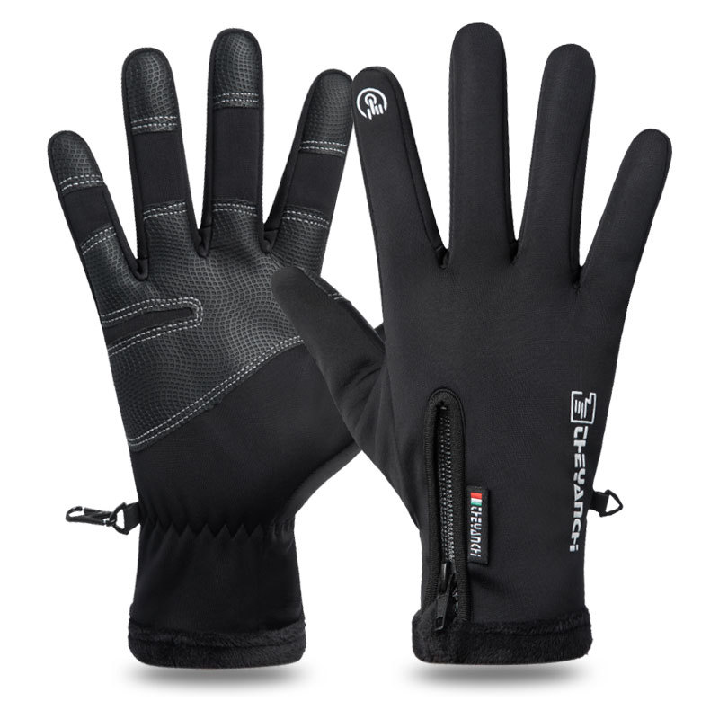 Wholesale skid resistance full Finger Male touch screen Outdoor waterproof and warm sports safety cycling gloves