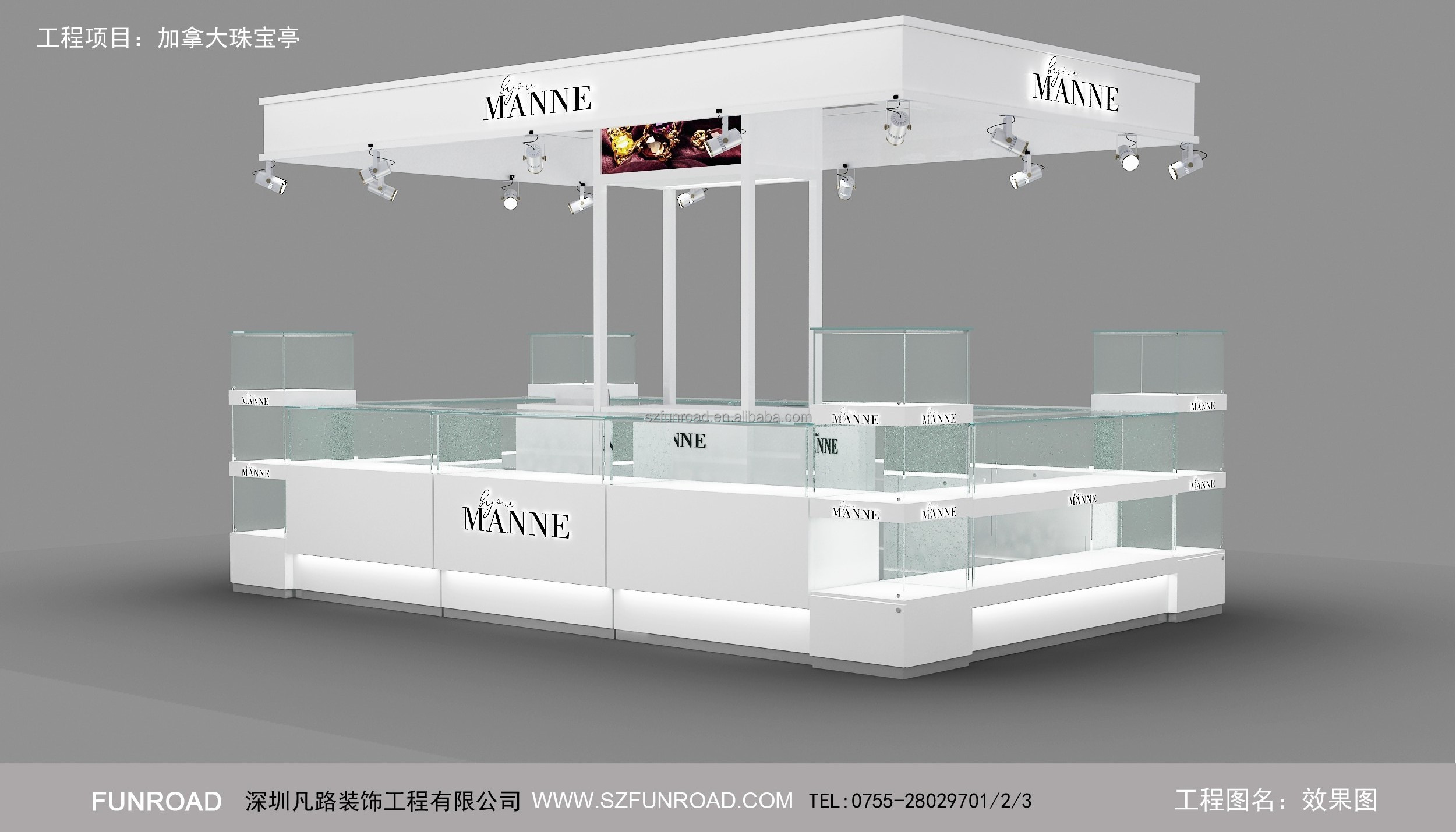 Shopping mall custom jewelry display kiosk showcase design / jewelry store furniture for sale
