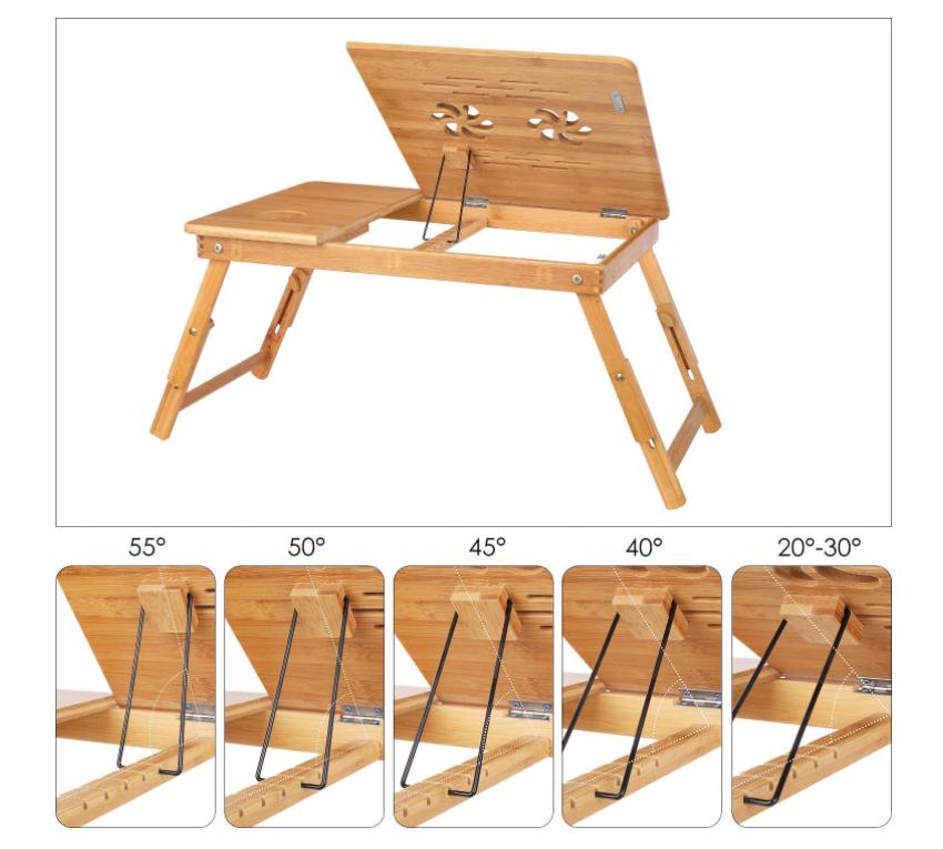 Многофункциональный настольный держатель для ноутбука, бамбуковый регулируемый портативный поднос для завтрака, Сервировочная кровать с наклонным верхним ящиком для хранения