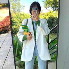Корейский Элегантный Повседневный Женский блейзер, однотонный черный пиджак с длинным рукавом, женский костюм, осень 2020, свободные офисные ...(Китай)