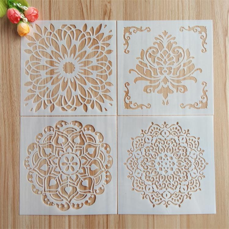 Новый дизайн 0,25 мм экологически чистые пластиковые трафареты цветок Мандала набор трафаретов