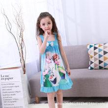 Платье, детская одежда для дома, платье Анны и Эльзы, ночная рубашка для девочек, летняя мультяшная ночная рубашка, детская одежда, пижама с к...(Китай)