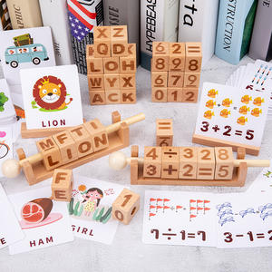 High Grade Natural Wooden Building Blocks English Spelling Game Learning Card Digital Alphabet Wooden Cubes