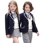 OEM Service China Wholesale UK Style Europe Children Gray edge suit 4 Piece Primary School Uniform Boys and Girls Uniform School