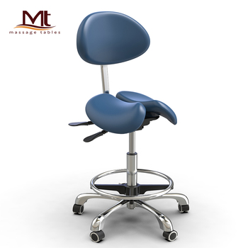 MT ergonomic PU Leather dental saddle chair twin dental saddle stool with backrest saddle chair