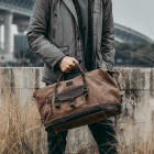 Bag Men Men Duffel Bag WOHLBEGE Wholesale Vintage Canvas Duffel Overnight Bag Large Leather Shoulder Travelling Bag Weekender For Men