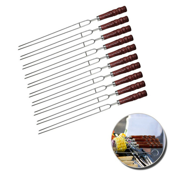 10pcs 17'' 45cm BBQ Skewers Stainless Steel Roast Barbecue Grills Stick Fork U Shape Wooden Skewers Shish Kebab Meat Needle