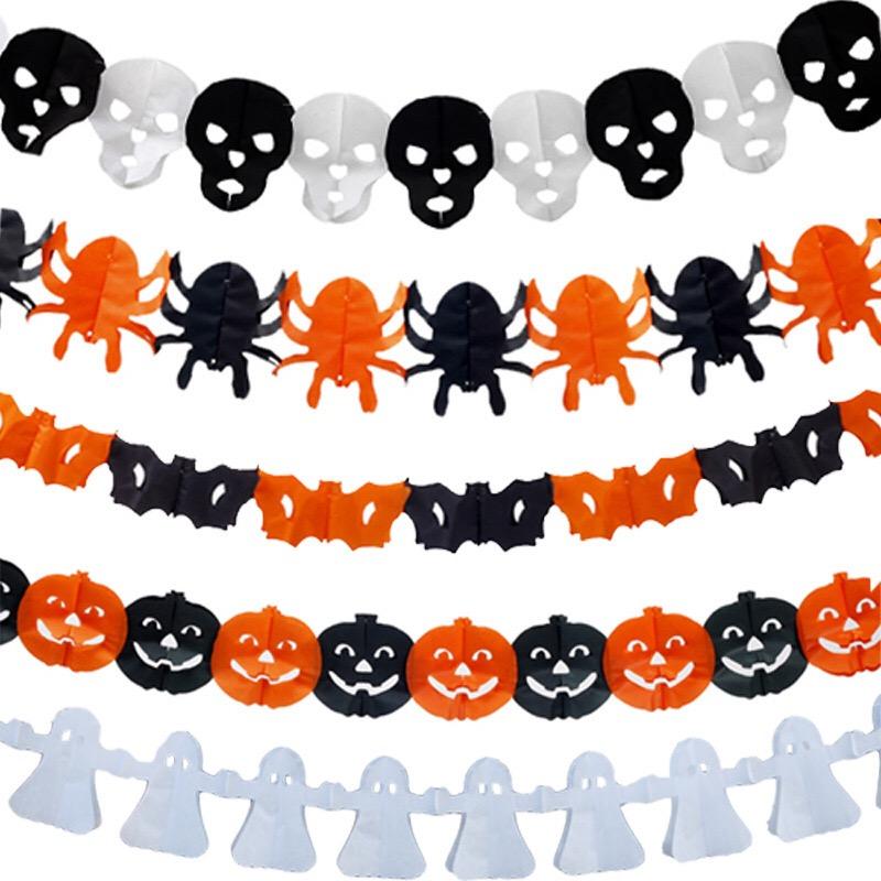 Hot Sale Layout Hanging Banner For Halloween Party Decoration Ghost Pumpkin Bat Spider Halloween Pull Flag3M/Strip/bag