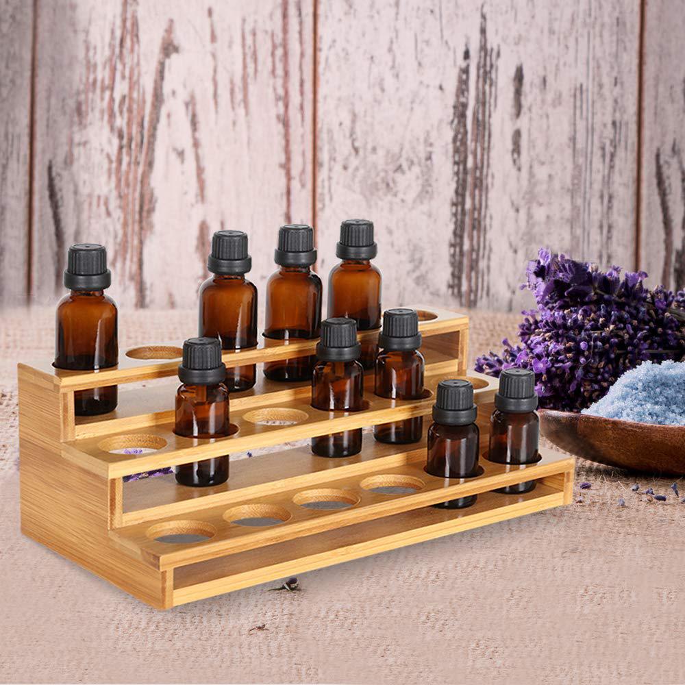 Essential Oils Storage Rack Natural Bamboo Essential Oil Nail Polish Display Holder 3 Tiers 18 SlotsnCountertop Storage Shelf