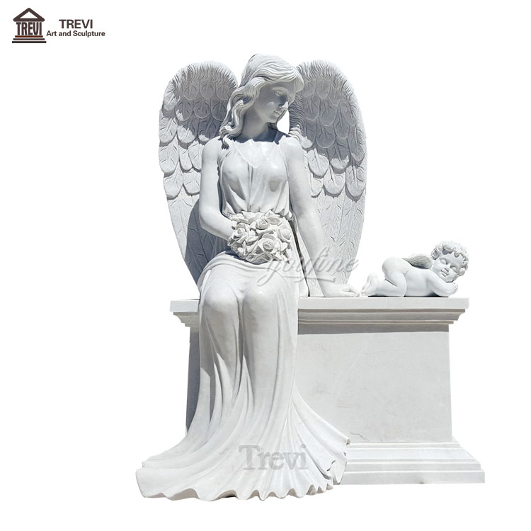 Natural Tomb Stone Marble White Angel Upright Headstone Designs Tombstone for Sale