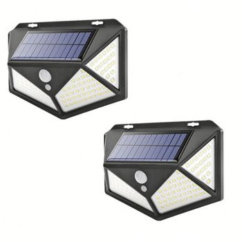 100LED solar wall light garden four sides luminous solar light human body induction waterproof outdoor light