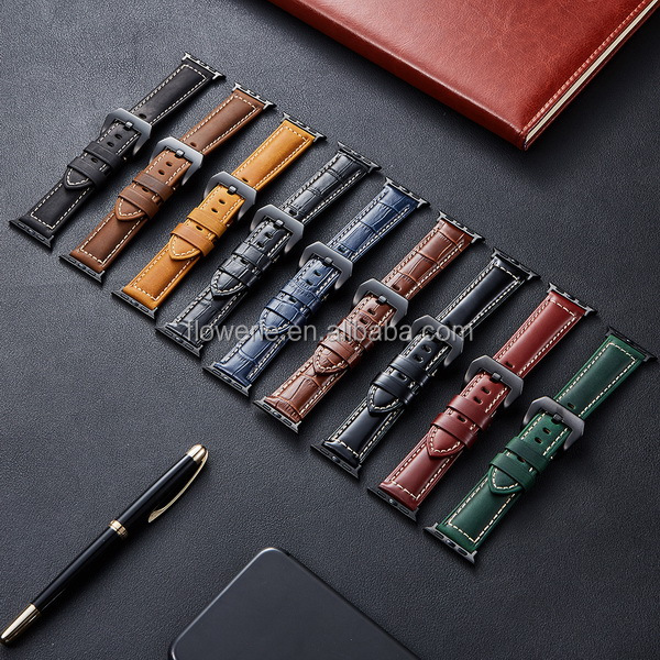 BLAP181059 Genuine italy Leather Watch Band Fit For Apple Watch 40mm 44mm Oil Leather Apple Watch Band In Stock