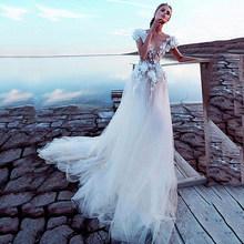 Роскошное Тюлевое ТРАПЕЦИЕВИДНОЕ свадебное платье es 2020 сексуальное свадебное платье с открытой спиной 3D кружевное цветочное сказочное пля...(Китай)