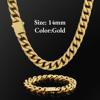 14mm Gold Buckle Clasp Curb Cuban Chain