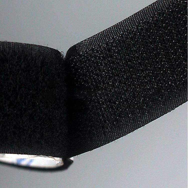Black Heat Resistant Back Glue Adhes Hook Loop Fastener Tape Strong Self Adhesive Hook And Loop