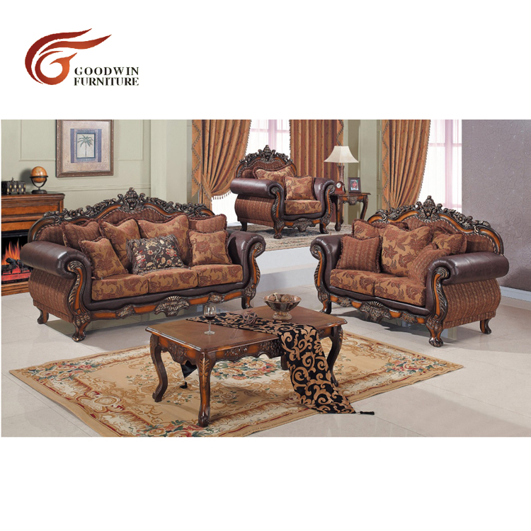 Import furniture from china, sofa wood carving living room furniture WA718