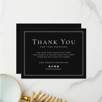 Custom Elegant Black Business Thank You For Shopping Note Custom Logo Card