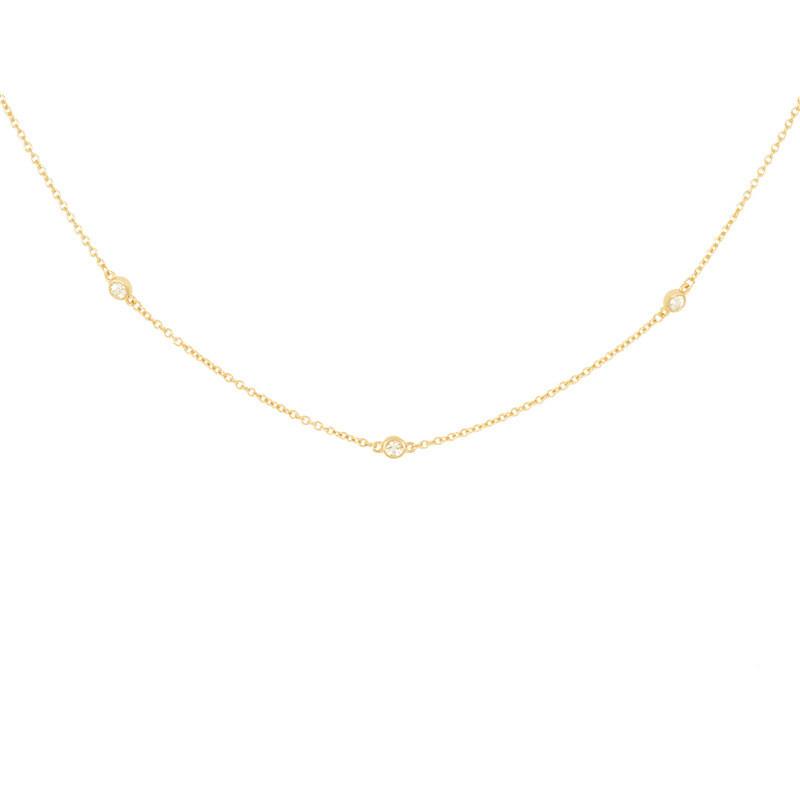 S925 Sterling Silver Diamond Bezel Dainty Chain Choker Necklace 14K Solid Gold Necklace Jewelry