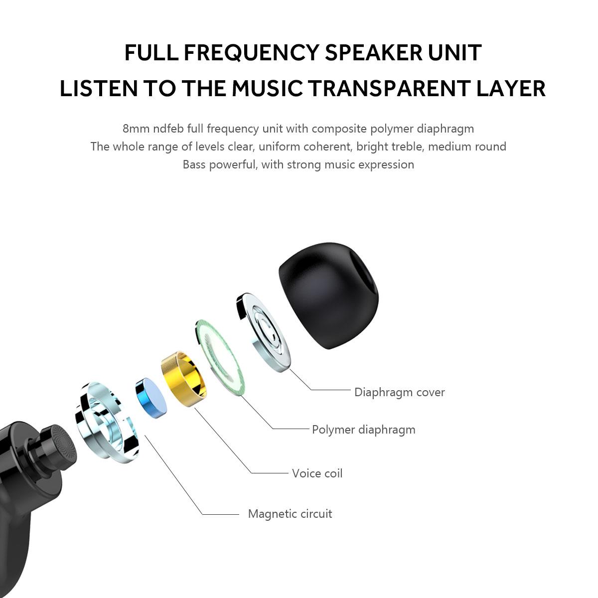 In-ear Wireless Earphone Heavy Bass Earbuds Earphones Single Earphone with Mic